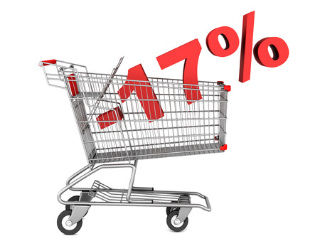 shopping cart with 17 percent discount isolated on white background photo