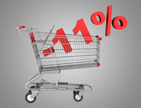 shopping cart with 11 percent discount isolated on gray background photo