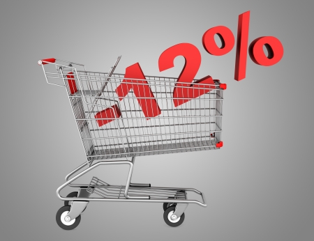 shopping cart with 12 percent discount isolated on gray background photo