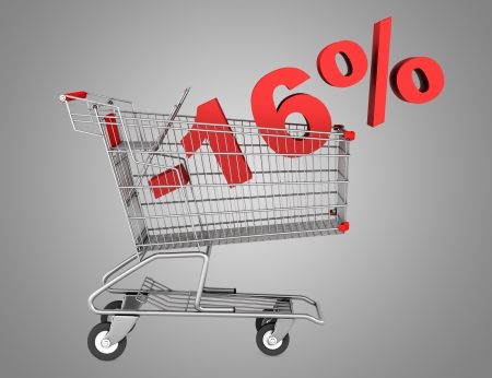 shopping cart with 16 percent discount isolated on gray background photo