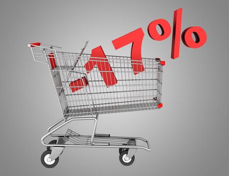 shopping cart with 17 percent discount isolated on gray background photo