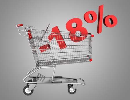 shopping cart with 18 percent discount isolated on gray background photo