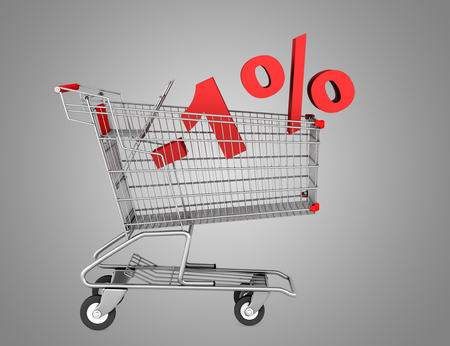 shopping cart with 1 percent discount isolated on gray background photo
