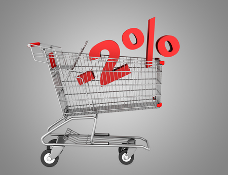 shopping cart with 2 percent discount isolated on gray background photo