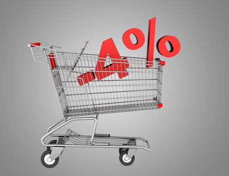 shopping cart with 4 percent discount isolated on gray background photo