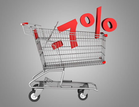 shopping cart with 7 percent discount isolated on gray background photo