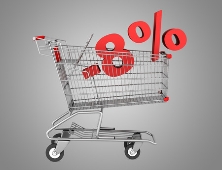 shopping cart with 8 percent discount isolated on gray background photo