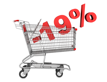 shopping cart with 19 percent discount isolated on white background photo