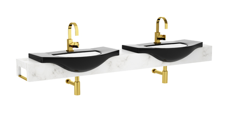 double sink: modern double black bathroom sink isolated on white background