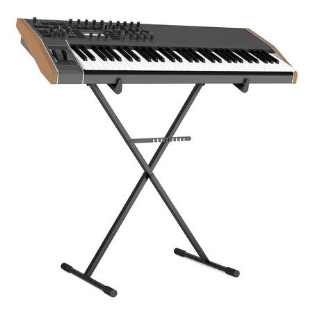 teclado de piano: sintetizador negro en el soporte aislado en el fondo blanco