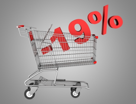 shopping cart with 19 percent discount isolated on gray background photo
