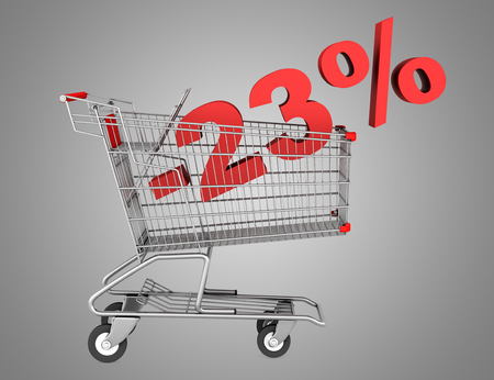 shopping cart with 23 percent discount isolated on gray background photo