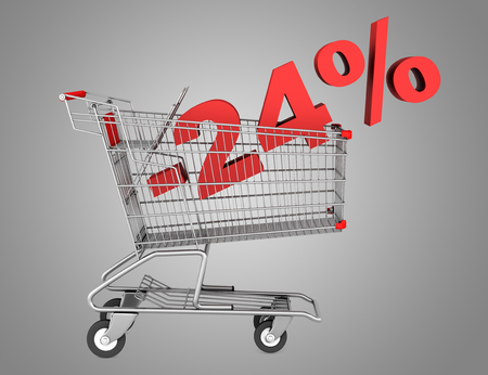 shopping cart with 24 percent discount isolated on gray background  photo