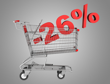 shopping cart with 26 percent discount isolated on gray background photo