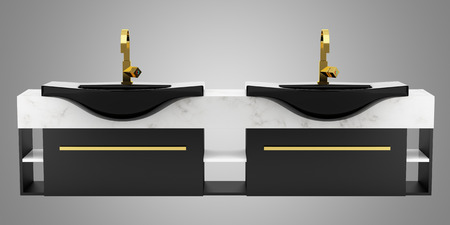 double sink: modern double black bathroom sink isolated on gray background Stock Photo