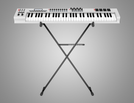 gray synthesizer on stand isolated on gray background Stock Photo