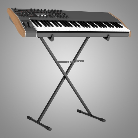 keyboard instrument: black synthesizer on stand isolated on gray background