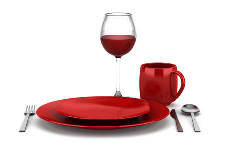 table setting with glass of red wine isolated on white background photo