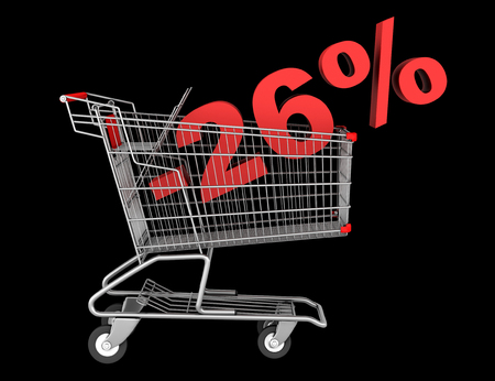shopping cart with 26 percent discount isolated on black background photo