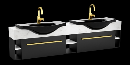double sink: modern double black bathroom sink isolated on black background