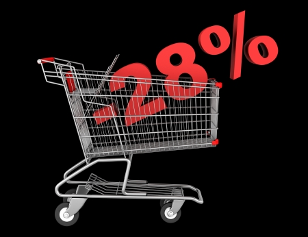 shopping cart with 28 percent discount isolated on black background photo