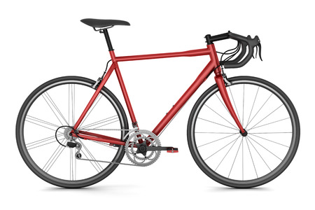 bicycle frame: red sport bicycle isolated on white background
