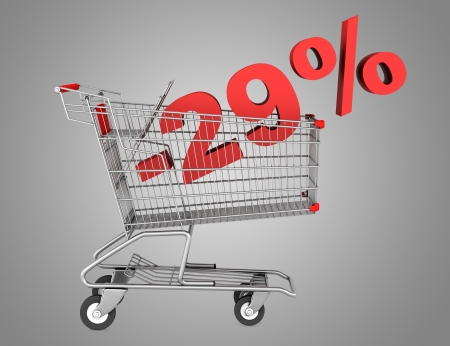 shopping cart with 29 percent discount isolated on gray background photo