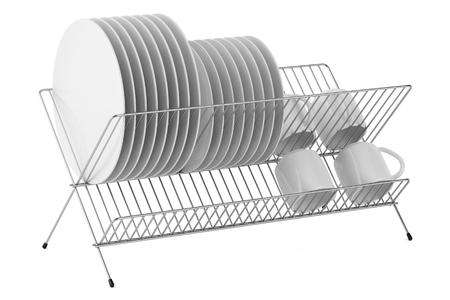 lavar trastes: estante de plato con cubiertos aislado en fondo blanco