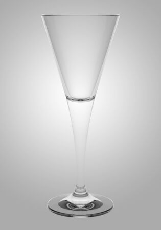 empty champagne glass isolated on gray background photo