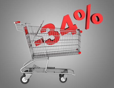 shopping cart with 34 percent discount isolated on gray background photo