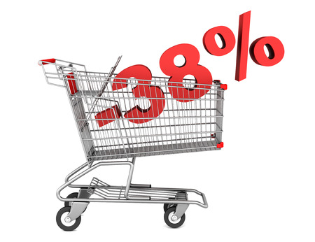 38: shopping cart with 38 percent discount isolated on white background Stock Photo