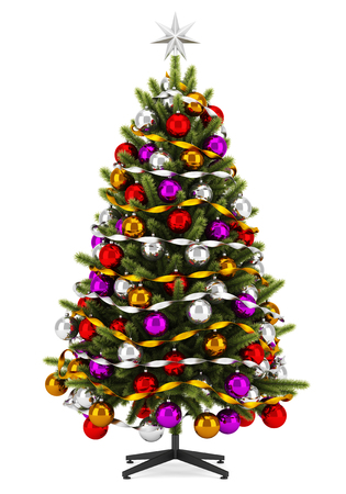 balls decorated: decorated christmas tree isolated on white background