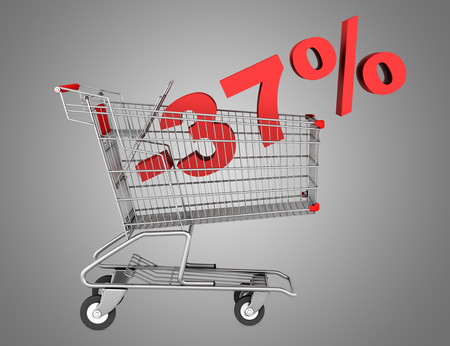 shopping cart with 37 percent discount isolated on gray background photo
