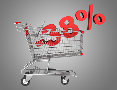 38: shopping cart with 38 percent discount isolated on gray background