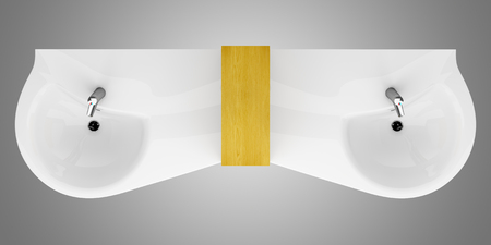 double sink: top view of modern double bathroom sink isolated on gray background