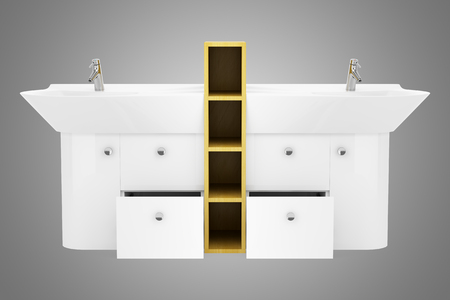 double sink: modern double bathroom sink isolated on gray background