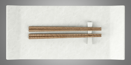 top view of empty sushi dish with chopsticks isolated on gray background photo