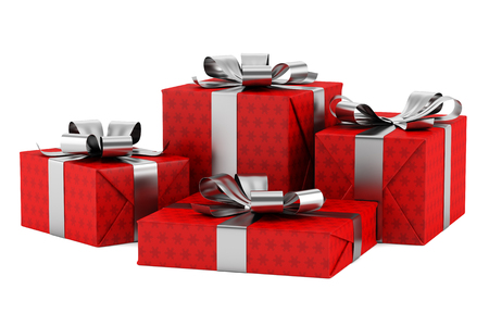 red gift boxes with silver ribbons isolated on white background Stock Photo - 25256707