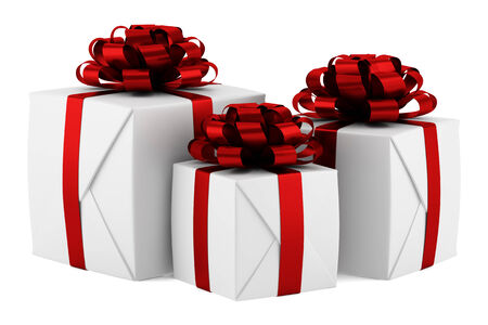 gift boxes with red ribbons isolated on white background photo