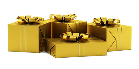 yellow gift boxes with golden ribbons isolated on white background photo
