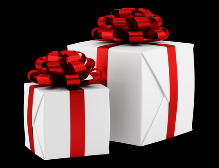 gift boxes with red ribbons isolated on black background photo