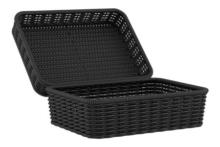 willow fruit basket: empty black bread basket isolated on white  Stock Photo