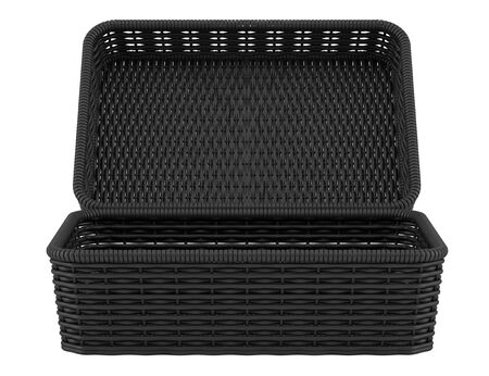 empty black bread basket isolated on white  photo