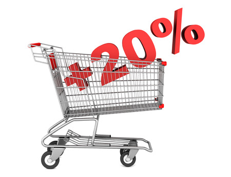 shopping cart with plus 20 percent sign isolated on white background photo