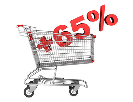 shopping cart with plus 65 percent sign isolated on white background photo