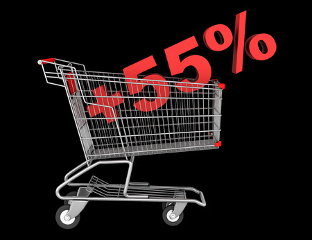 shopping cart with plus 55 percent sign isolated on black background photo