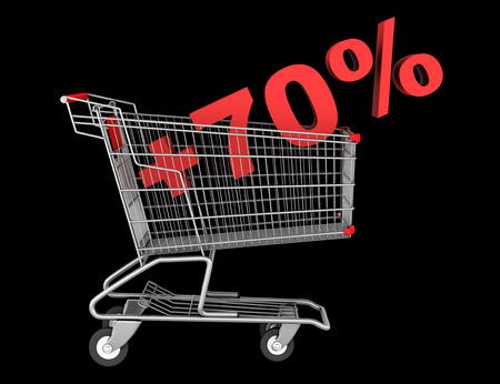 shopping cart with plus 70 percent sign isolated on black background photo