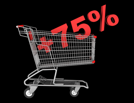 shopping cart with plus 75 percent sign isolated on black background photo