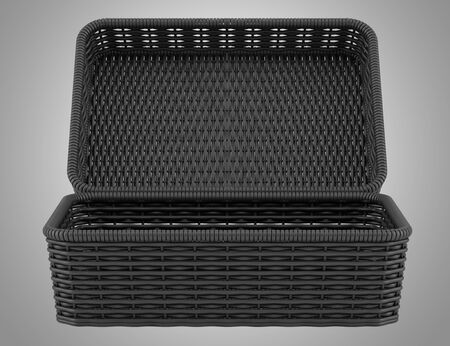 willow fruit basket: empty black bread basket isolated on gray background
