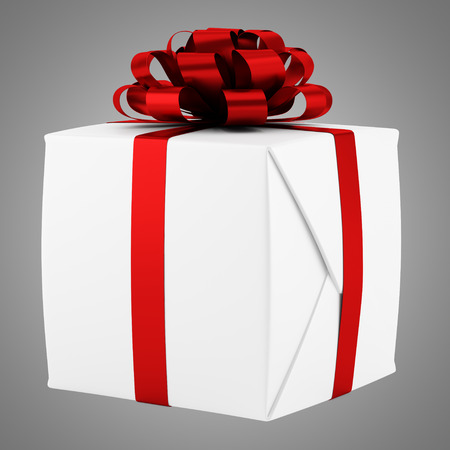 gift box with red ribbon isolated on gray background photo